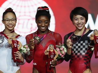 Biles sets record for world championship golds